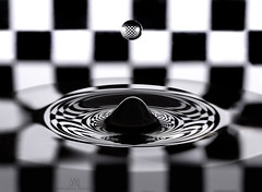 Black Hole (marianna armata) Tags: black blackandwhite mono monochrome greyscale checkerboard reflection water drop macro abstract mariannaarmata