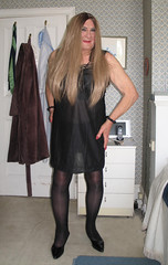 Nanarddrss-002 (fionaxxcd) Tags: trannie tranny transvestite crossdresser crossdressing m2f mtf boygurl blacktights blackpanttyhose longblondehair bust patentblackstilettos blackslip