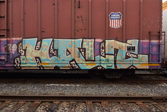 HALT (TheGraffitiHunters) Tags: graffiti graff spray paint street art colorful benching benched freight train tracks boxcar halt
