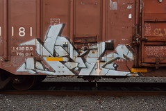 JUKE (TheGraffitiHunters) Tags: graffiti graff spray paint street art colorful benching benched freight train tracks boxcar juke