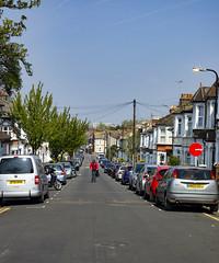 Spruce Hills Road, Walthamstow (London Less Travelled) Tags: uk unitedkingdom britain england london eastlondon city urban suburb suburban suburbia outskirts walthamstow walthamforest street cyclist road trees