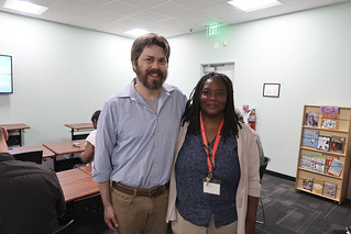 Linda with a speaker at the 2019 Re-Entry Partnership Conference.
