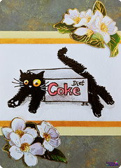 SerenaAzureth_ATC_BlackCat_CokeBox2 (SerenaAzureth) Tags: serenaazureth handdrawn drawing sketch watercolor acrylic paint pen atc artist trading card swapbot swap bot blackcat black cat kitty silly cute coke diet dietcoke box cokebox