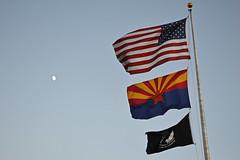 Prescott Flags (Sotosoroto) Tags: prescott arizona flags dusk moon sky usa