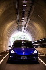 Blue Electricity (Thomas Hawk) Tags: sausalito california unitedstates tesla car auto automobile robertscoble scobleizer tunnel fav10 fav25 fav50