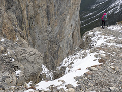 Natasha by the cliffs (David R. Crowe) Tags: cliff landscape mountain nature outdooractivities scrambling canmore ab canada