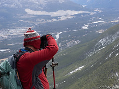 Brad snapping the valley (David R. Crowe) Tags: outdooractivities scrambling canmore ab canada