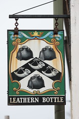 The Leathern Bottle pub sign Godalming Surrey UK (davidseall) Tags: the leathern bottle pub pubs sign signs inn tavern bar public house houses godalming surrey uk gb british english heraldic hanging