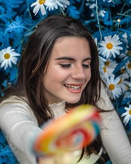 Sweet🍭 (srodriguxlo) Tags: blue flowers nature girl smile canon canon77d colours sweet 18 50mm 77d