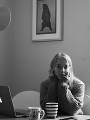 Morning coffee under the roaring grizzly bear (algirdas.chocianas) Tags: morning coffee empty head grizzly bear portrait portraits young woman people girl bw blackwhite black white women monochromatic canoneos650d canonef50mmf18ii canon