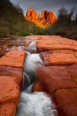 Light at the end of the Creek (David Shield Photography) Tags: cathedralrock oakcreek sedona arizona sandstone water trees sunset light color nikon landscape redrock
