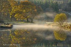 Autumn In The Mist (jeanette_lea) Tags: landscape united kingdom river brathay elterwater the lake district cumbria sunrise dawn mist frost autumn colours reflections trees grass water
