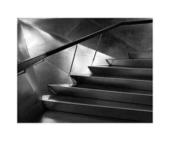 Caixa-Forum Madrid V (BLANCA GOMEZ) Tags: spain madmadrid bw blackwhite light shadows textures shapes silhouettes urban city arquitectura architecture contemporaryart artecontemporaneo arquitecto herzogdemeuron stairs escaleras caixaforum centrocultural culturalcentre