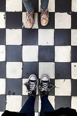Checkers (evaxebra) Tags: poland polska 2019 vacation hala koszyki mall warsaw checkered floor converse wings batwings bat shwings luna feet shoes