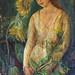 la dama de los girasoles, óleo sobre tela