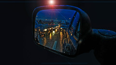 Too Late! (DDM Imaging) Tags: traffic jam rain strang dark night lights sky ufo color blue colors colour colours camera leave leaving drive emergency panic neon strange abstract mood moody