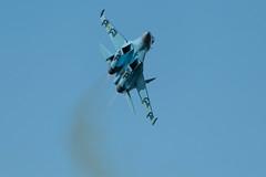 Flank to the left (adamking69) Tags: plane fighter jet sukhoi su27 flanker riat royalinternationalairtatoo nikon d850 nikkor nikkor200500 sky exhaust afterburner wings
