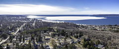 Petoskey and Little Traverse Bay (Petoskey Drones) Tags: lake water town ice spring panorama drone aerial above birdeye street