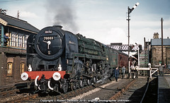 1962 - GE Commemoration, at Thetford. (Robert Gadsdon) Tags: 1962 rcts greateasterncommemorativesteamrailtour br britanniaclass pacific 70003 johnbunyan steam withdrawn scrapped thetfordstation