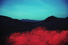 (patrickjoust) Tags: fujica gw690 kodak portra 160 6x9 medium format 120 rangefinder 90mm f35 fujinon lens manual focus analog mechanical patrick joust patrickjoust united states north america estados unidos long exposure night dusk after dark red flash light flashlight c41 color negative film nevada nv mountains desert california border sage brush blue star trail