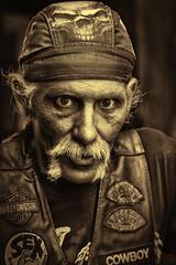 Cowboy 040919 (55/100) (TNrick) Tags: streetportrait man portrait nashville tennessee cowboy skull sepia monochrome naturallight