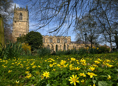 St Oswald's Church (PJ Swan) Tags: st oswalds church durham england celandine flowers springtime county britain