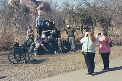 Posing with the lions (radargeek) Tags: film 35mm 2018 april okczoo oklahomacity oklahoma okc zoo shootingtheshooter lion statue