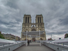 Notre Dame (gabi-h) Tags: notredame paris architecture historical iconic cloudysky gabih entrance towers spire tourists ramp france windows stone 850yearsold