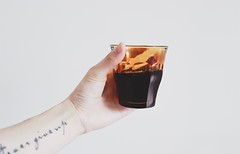 person holding almost full glass cup - Credit to https://myfriendscoffee.com/ (John Beans) Tags: coffee cafe coffeebeans shopbeans espresso coffeecup cup drink cappucino latte
