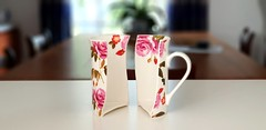 pink and white floral half ceramic mug on top of table - Credit to https://myfriendscoffee.com/ (John Beans) Tags: coffee cafe coffeebeans shopbeans espresso coffeecup cup drink cappucino latte