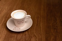 white ceramic cup with saucer - Credit to https://myfriendscoffee.com/ (John Beans) Tags: coffee cafe coffeebeans shopbeans espresso coffeecup cup drink cappucino latte