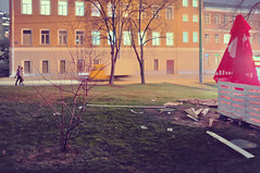 DSCF4684 (Mike Pechyonkin) Tags: 2019 moscow москва house дом road дорога girl woman девушка man мужчина window окно lawn газон wood plank доска sunshade зонт julius meinl patio веранда tree дерево car машина downspout водосточная труба door дверь