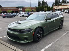 Day 40: Something Dark Green (Thunderstormnightmare) Tags: dodgecharger scatpack fast car unlimitedpictures unlimitedphotos photoschallenge pictureschallenge photochallenge challenge parkinglot clouds darkgreen dodge sky april spring thursday outside outdoor trees