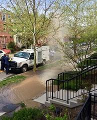 Water Main Break Next Door (Mr.TinDC) Tags: dc washingtondc columbiaheights monroestreet water dcwater watermain leak geyser damage mess sidewalk