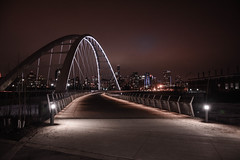 Follow the Light (M.T. El Bialy) Tags: bridge walterdale edmonton alberta new lights lit under water city downtown scape landscape nighttime long exposure night time dark cloudy spring