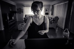 Studying (diannerobbins1) Tags: storytelling study blackandwhite blackandwhiteportrait blackandwhitephotography portrait g7xii canong7xii daughter