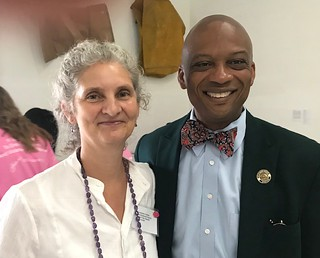 Founder and director of Lotus House Constance Collins with the Honorable Oliver Gilbert Mayor of Miami Gardens, at the fundraiser  held at the Margulies collection
