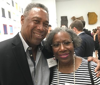 Former Miami Dolphin superstar Nat Moore with wife Pat at the Margulies collection fundraiser