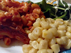 Supper Time. (dccradio) Tags: lumberton nc northcarolina robesoncounty indoors indoor inside food eat meal lunch supper dinner plate macaroni goulash macaronilasagna pasta spaghettisauce sauce marinarasauce corn kernels spinach spinachsalad ranchdressing shreddedcheese samsung galaxy smj727v j7v cellphone cellphonepicture april thursday thursdaynight thursdayevening evening