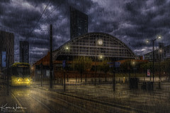 Manchester Central (Kev Walker ¦ 10 Million Views..Thank You) Tags: architecture building city england manchester panoramic sky town water art background bridge britain buildings business canal castlefield center centre cityscape design downtown dusk europe european great kingdom landmark light metropolitan modern night places quays quayside reflection salford skyline skyscraper square symbol tourism tower travel twilight uk united urban view yellow tramlines tram rain clouds