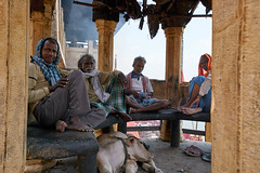 Having a fireside chat at the burning cremation ghat, Varanasi India (JJ Doro - Bangkok) Tags: hindu hindumen india varanasi brahmacow cow