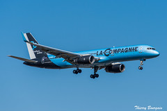[ORY] La Compagnie Boeing 757-200 _ F-HCIE (thibou1) Tags: thierrybourgain ory lfpo orly spotting aircraft airplane nikon d810 tamron sigma lacompagnie boeing boeing757 b757 b757200 fhcie newyork landing