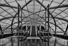 Elbbrücken Metro Station #2 (T.Seifer : )) Tags: steel architecture metal building cityscape travel urban europe nikkor perspective metro roof structure subway lines geometry modern hamburg elbbrücken tourism traffiic view blackandwhite blackwhite