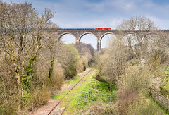 Pinky one over Moorswater (Rails West) Tags: class66 cornwall dbs66 locations moorswaterviaduct sandliner viaduct