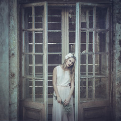 Portrait (Tomasz Aulich) Tags: nikon sigmalens younggirl girl window europe poland rust rustic woman hair flower abandoned decau urbex exploration dress face manor naturallight colour glass human