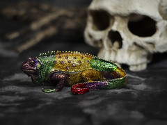 Enameled trinket box (N.the.Kudzu) Tags: tabletop stilllife enameled lizard trinketbox skull canoneosm mirrorless helios442 lightroom ringlight home