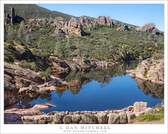 Bear Gulch Reservoir (G Dan Mitchell) Tags: pinnacles nationalpark california usa north america travel outdoors sanbenitocounty springseason beargulch reservoir lake water hikers people traildam towers rock reflection pinnaclesnationalpark