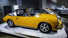 1968 Porsche 911S Targa (Thad Zajdowicz) Tags: zajdowicz availablelight lightroom usa travel leica car automobile classic vehicle transportation petersenautomotivemuseum losangeles california metal steel chrome glass tires wheels windshield 1968 porsche 911s targa german color yellow colour