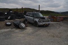 Vogue V8 (Sam Tait) Tags: frongoch derelict abandoned mine wales ceredigion range rover land 4x4 parts scrap yard reclamation spares repairs waste urbex rural lead ruin ruins vogue v8 43 44 2004 285bhp auto silver petrol modified winch industrial industry old mining history historic