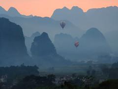 Limestone sunset (MelindaChan ^..^) Tags: qingyuan china 清遠 黃花鎮 limestone hill chanmelmel mel melinda melindachan nature rural village countryside sunset evening dusk balloon